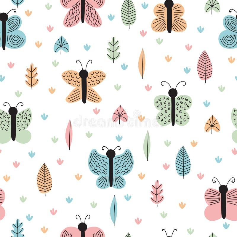 Modèle sans couture tiré par la main avec des papillons et des mites Fond puéril scandinave créatif Éléments décoratifs élégants illustration stock