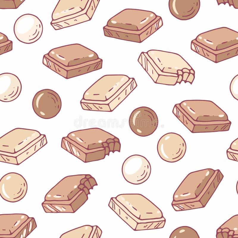 Modèle sans couture tiré par la main avec du chocolat Fond pour le paquet de café, de cuisine ou de nourriture illustration stock