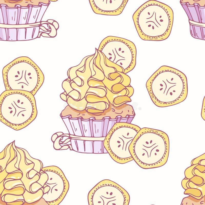 Modèle sans couture tiré par la main avec le buttercream de petit gâteau et de banane de griffonnage Fond de nourriture illustration stock