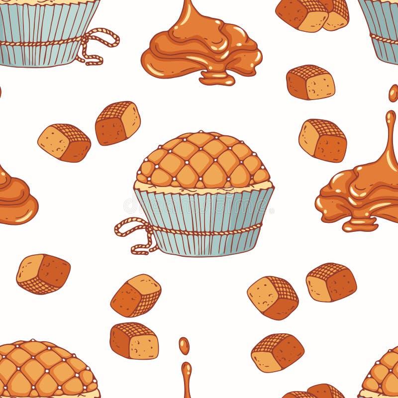 Modèle sans couture tiré par la main avec le buttercream de petit gâteau et de caramel de griffonnage Fond de nourriture illustration libre de droits