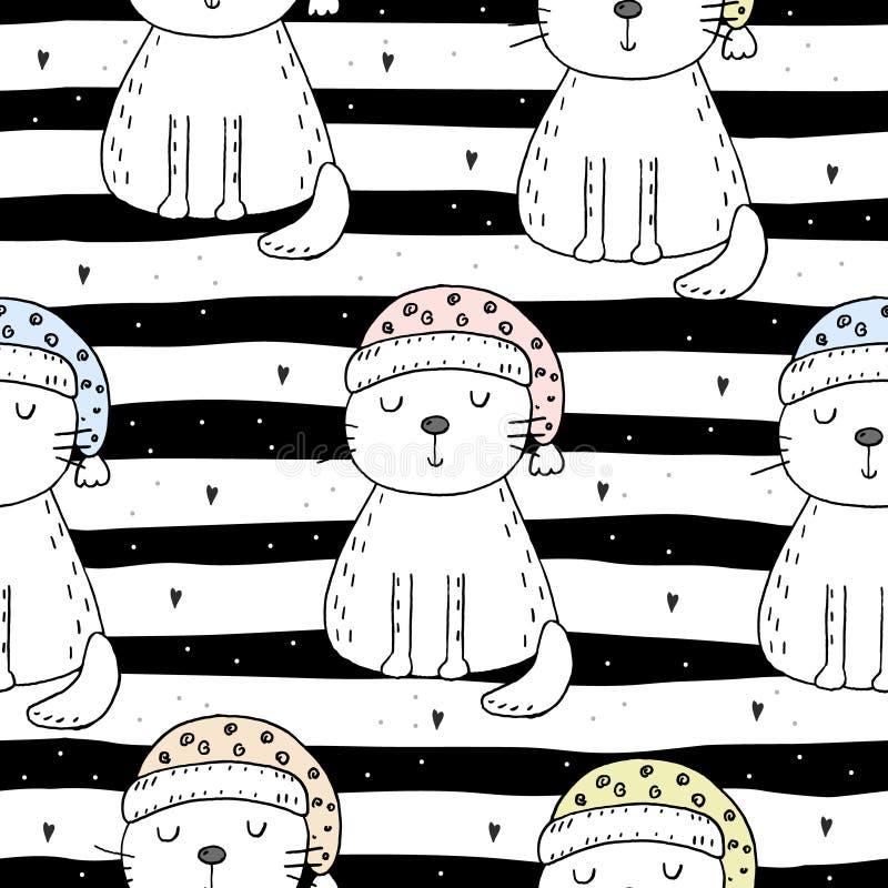 Modèle sans couture tiré par la main avec le chat mignon, illustration de griffonnage pour la copie de vecteur d'enfants illustration stock