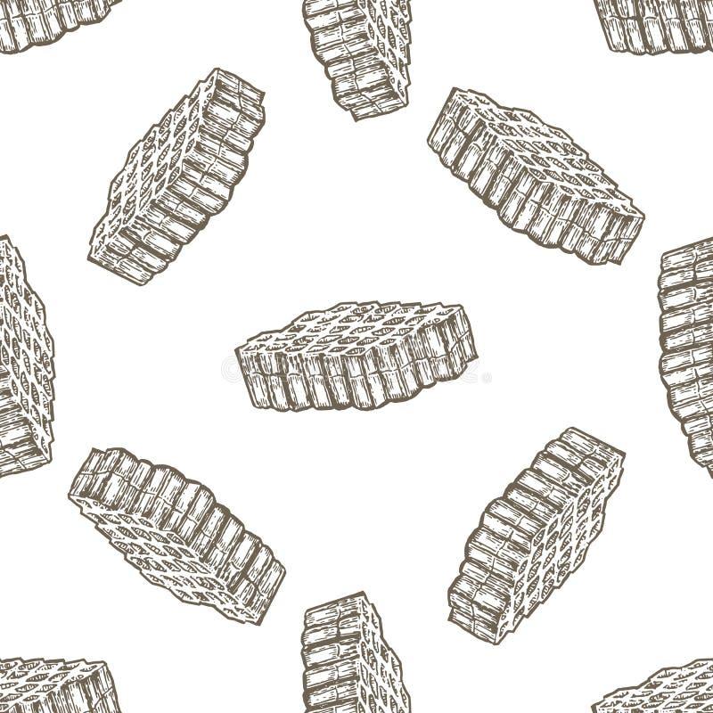 Modèle sans couture tiré par la main avec le peigne de miel au-dessus du fond blanc illustration libre de droits