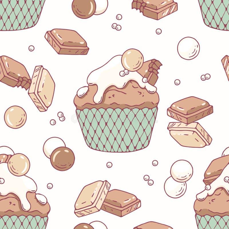 Modèle sans couture tiré par la main avec le petit gâteau de griffonnage et le buttercream blanc de chocolat au lait Fond de nour illustration libre de droits