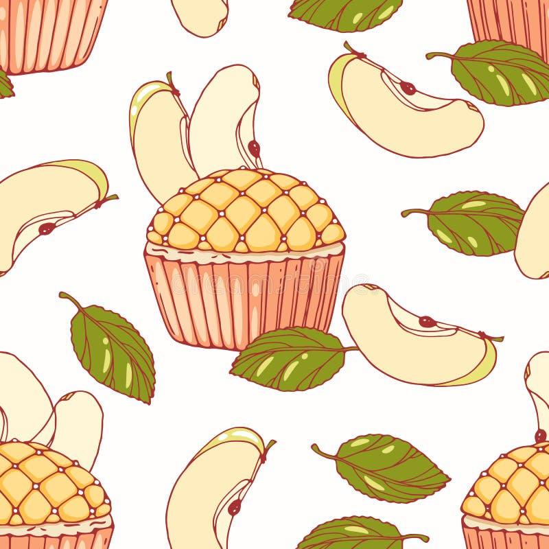 Modèle sans couture tiré par la main avec le petit gâteau et le buttercream de tarte aux pommes de griffonnage Fond de nourriture illustration stock