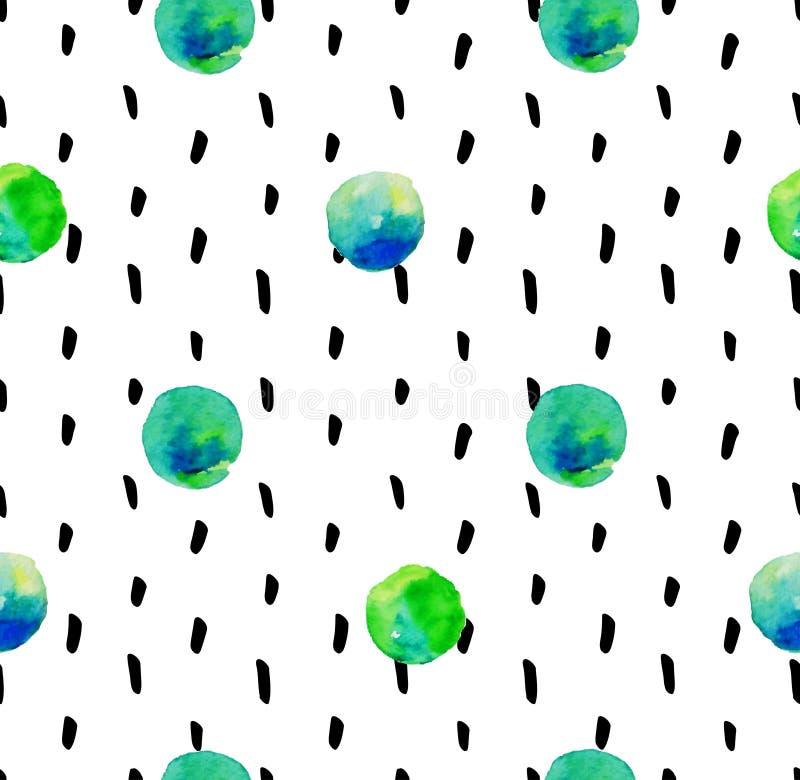 Modèle sans couture tiré par la main avec les éléments géométriques abstraits illustration stock