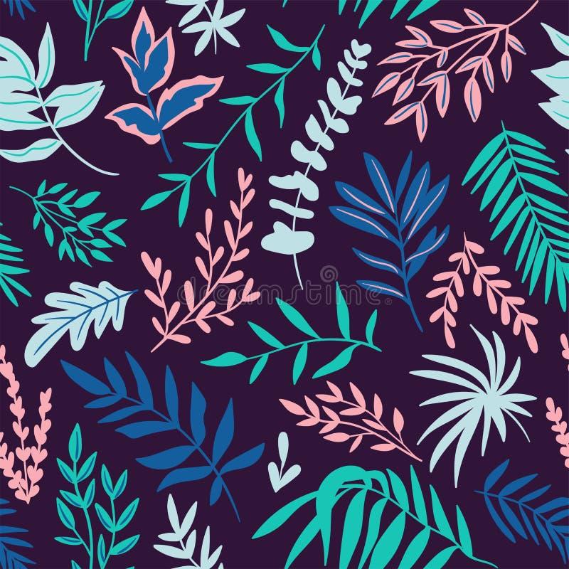 Modèle sans couture tiré par la main avec les feuilles tropicales Vecteur botanique répétant le fond illustration stock