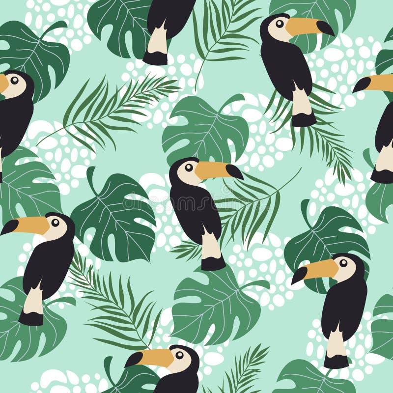 Modèle sans couture tiré par la main avec les oiseaux et les feuilles tropicaux sur le fond bleu Illustration plate de vecteur de illustration libre de droits