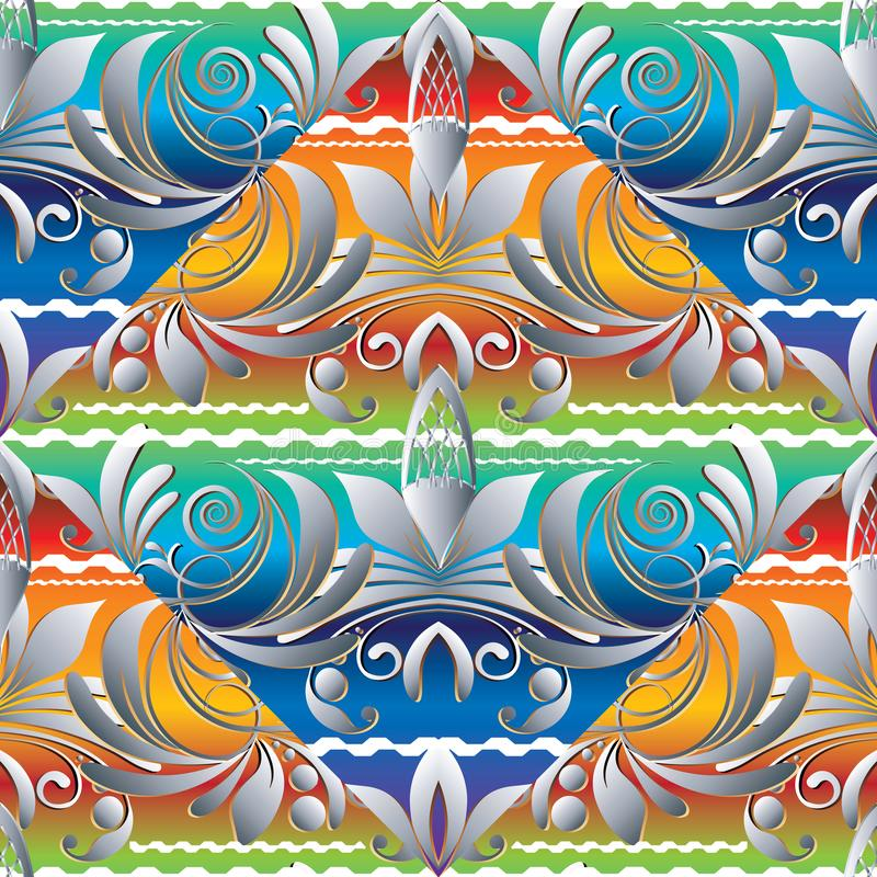 Modèle sans couture tiré par la main coloré floral Prison de vecteur de vintage illustration libre de droits