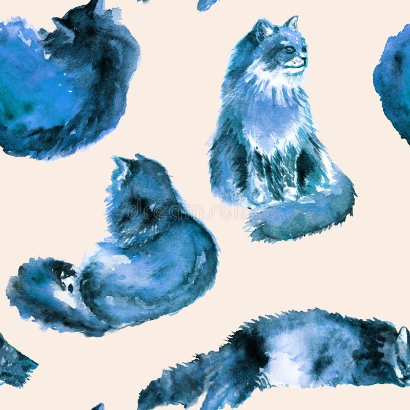 Modèle sans couture tiré par la main d'aquarelle de chat bleu pelucheux dans différentes poses : paresseux, se trouvant, rêvant,  illustration libre de droits