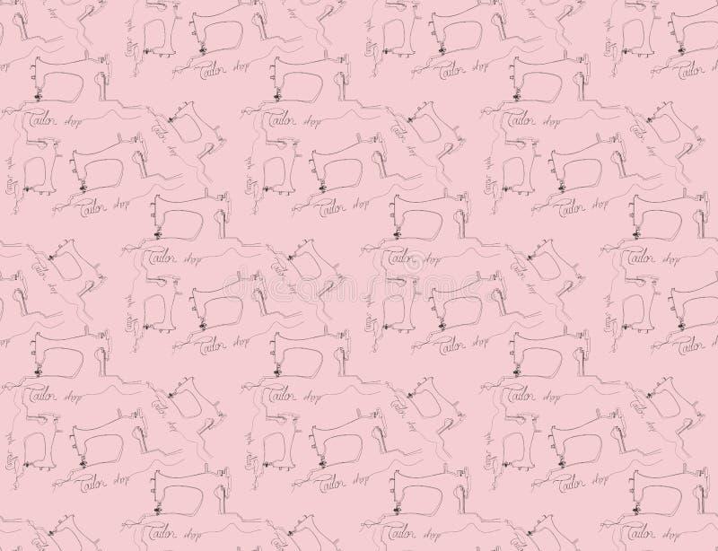 Mod?le sans couture tir? par la main d'atelier Les outils de couture gribouillent le fond Illustration de mode avec des objets de illustration de vecteur