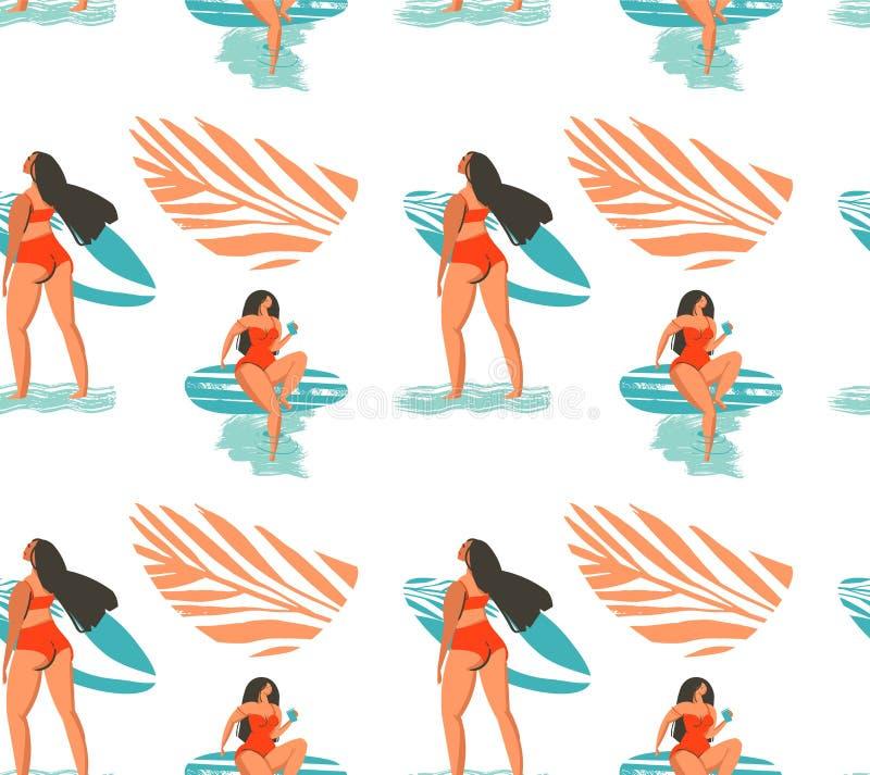 Modèle sans couture tiré par la main d'heure d'été d'abrégé sur vecteur avec la fille de surfers dans le bikini sur la plage et l illustration libre de droits