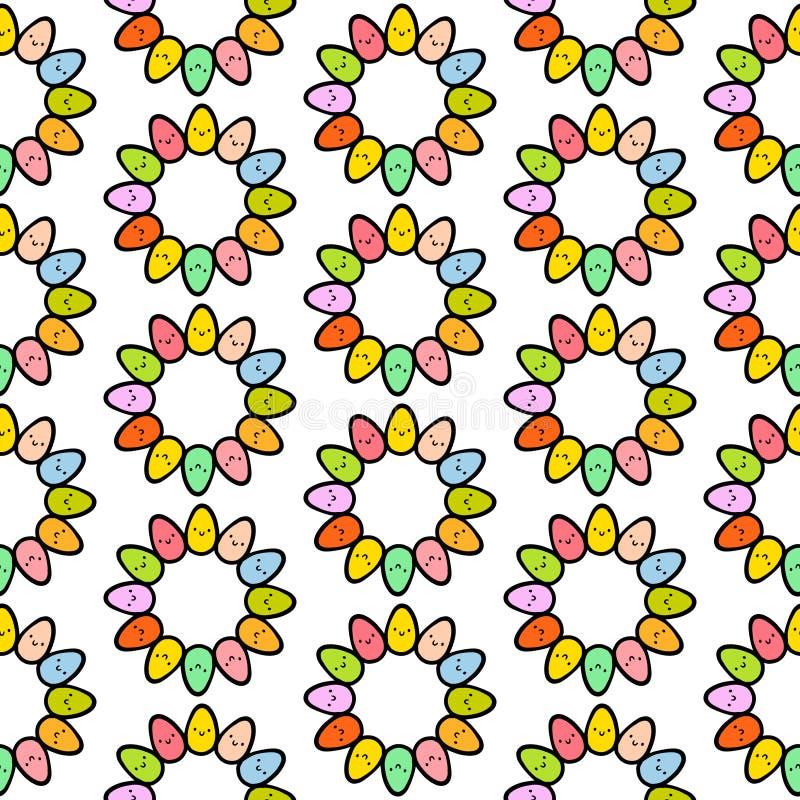 Modèle sans couture tiré par la main d'oeufs colorés avec les créatures de sourire mignonnes illustration de vecteur