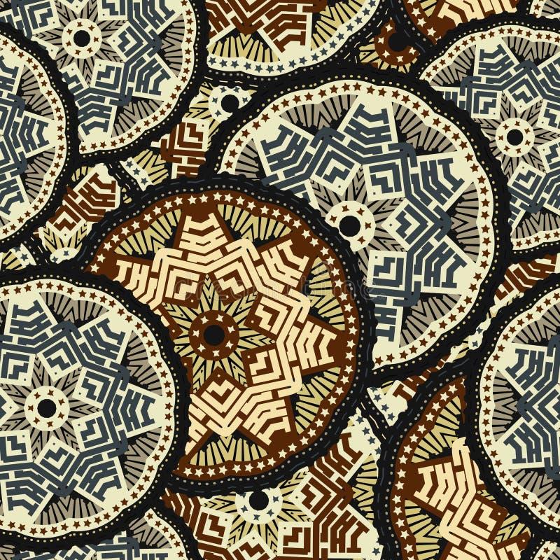 Modèle sans couture tiré par la main de boho de mandala Illustration de vecteur illustration de vecteur