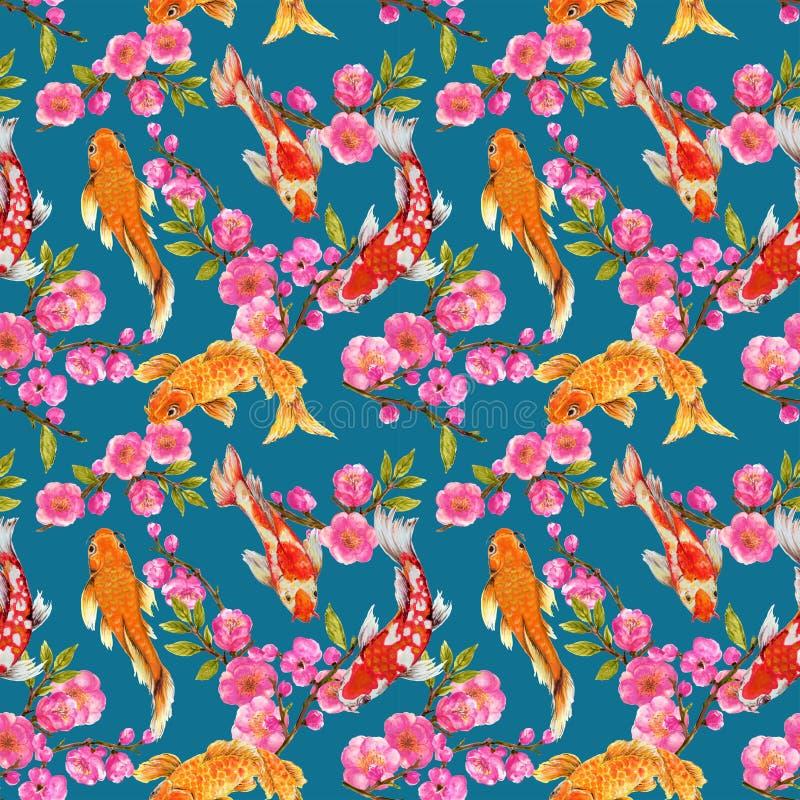 Modèle sans couture tiré par la main de fond inspiré gouache d'aquarelle de contexte de fond de yukata par kimono chinois de Coré illustration libre de droits