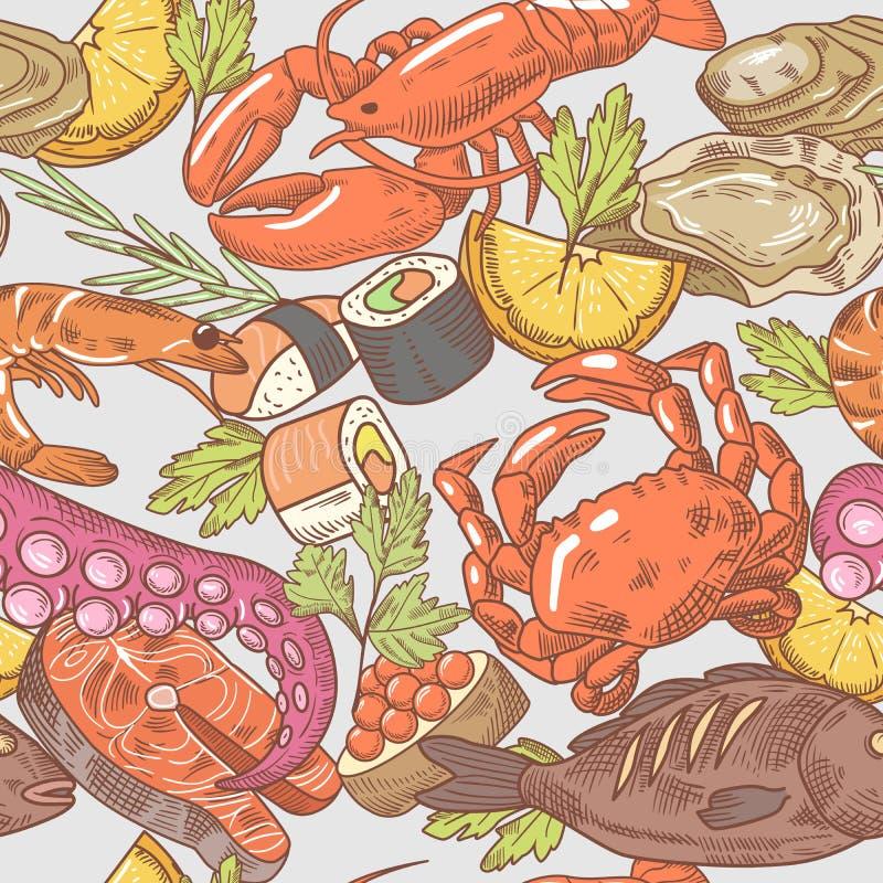 Modèle sans couture tiré par la main de fruits de mer Fond avec le poulpe, le crabe et le homard illustration de vecteur