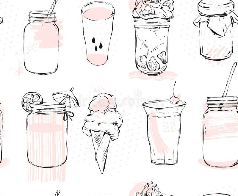 Modèle sans couture tiré par la main de graphique de vecteur avec le pot de crème glacé et en verre, le smoothie, le milkshake, l illustration de vecteur