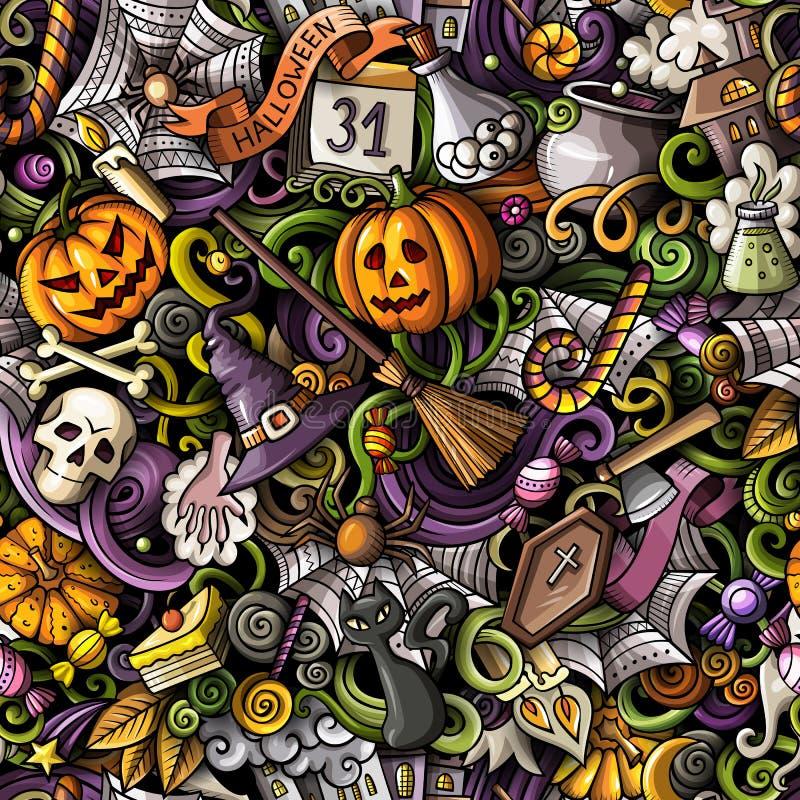Modèle sans couture tiré par la main de Halloween de griffonnages mignons de bande dessinée illustration de vecteur