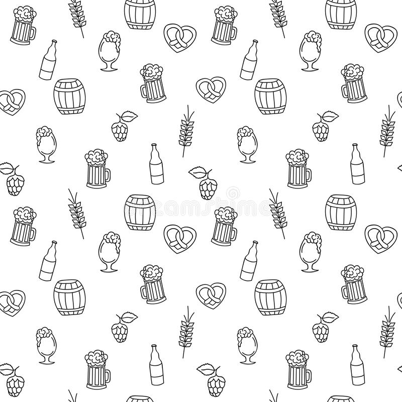 Modèle sans couture tiré par la main de tasse de bière pour les pages adultes de coloration illustration libre de droits