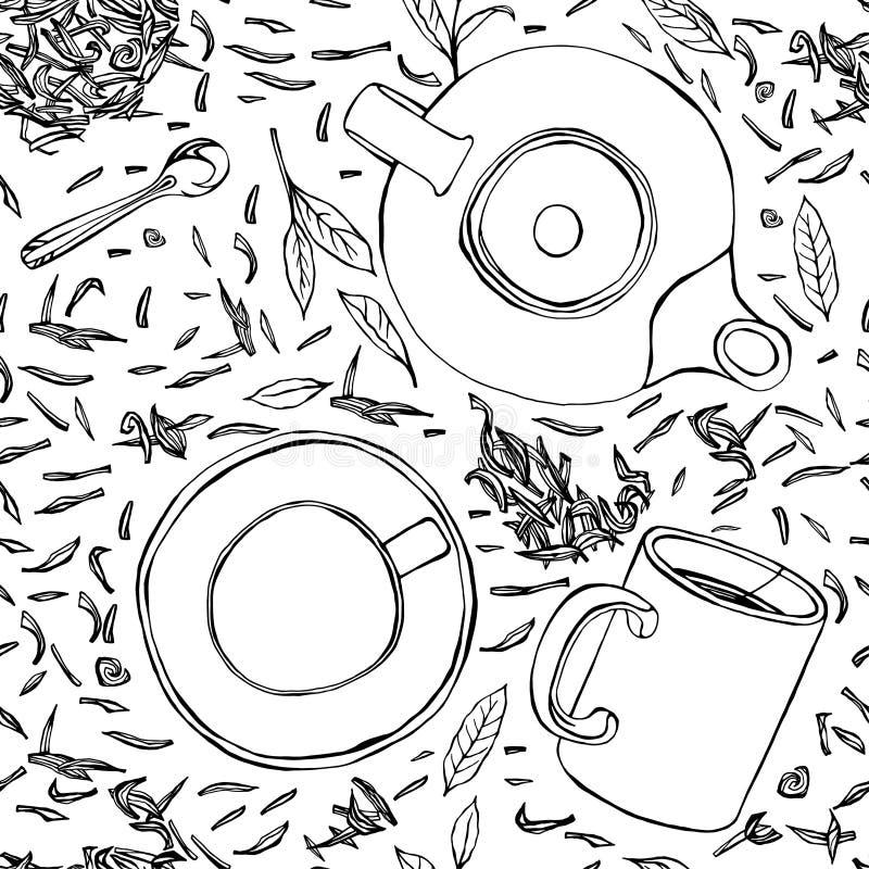 Modèle sans couture tiré par la main 01 A de thé illustration libre de droits