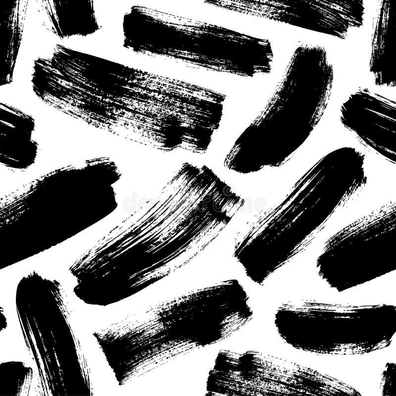 Modèle sans couture tiré par la main de traçages noirs Ornement d'encre de vecteur pour le papier d'emballage illustration libre de droits
