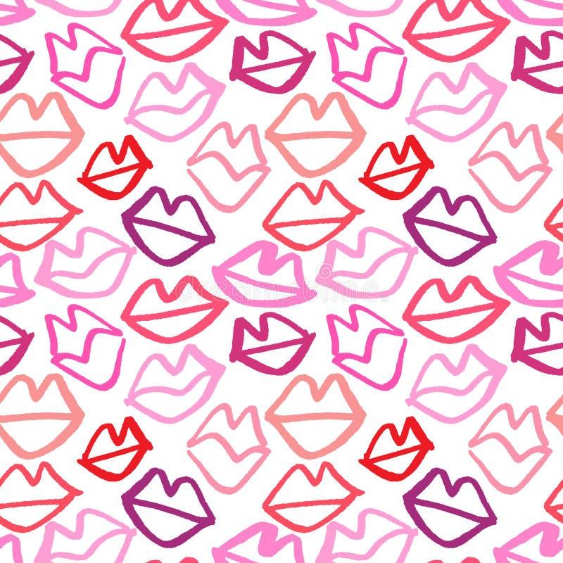 Modèle sans couture tiré par la main de vecteur avec des lèvres Fond abstrait de mode Texture colorée illustration stock