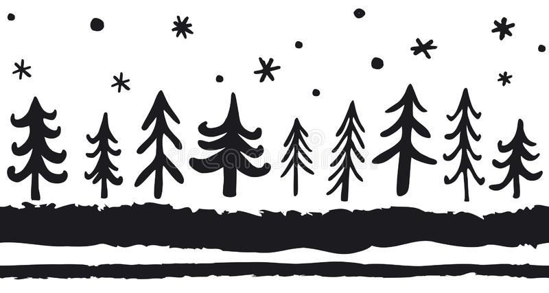 Modèle sans couture tiré par la main de vecteur avec des pins de griffonnage Fond nordique de Noël Rebecca 36 illustration stock