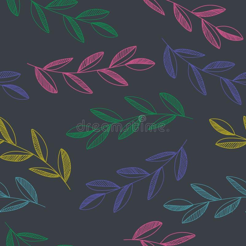 Mod?le sans couture tir? par la main de vecteur avec les feuilles color?es et les branches d'isolement sur le fond noir illustration stock
