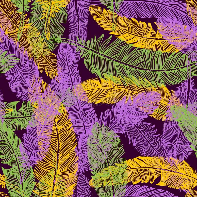 Modèle sans couture tiré par la main des plumes Couleur de mardi gras illustration de vecteur