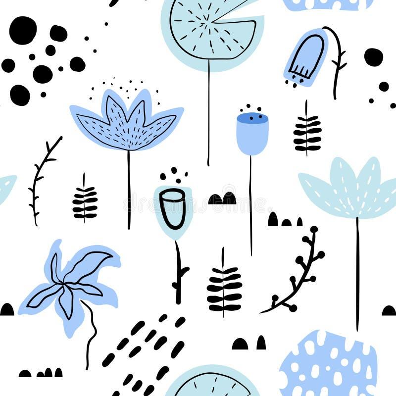 Modèle sans couture tiré par la main floral avec des fleurs et des feuilles Fond botanique de nature pour le papier peint, papier illustration libre de droits