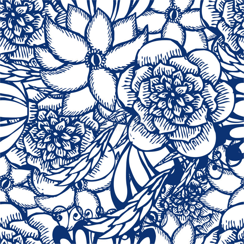 Modèle sans couture tiré par la main floral dans le style de tatouage illustration libre de droits