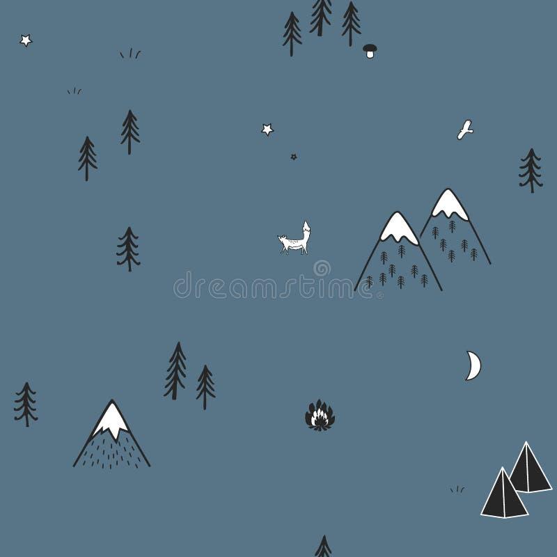 Modèle sans couture tiré par la main mignon avec les tentes de camping, le feu, les arbres, et les montagnes Région boisée scandi illustration stock