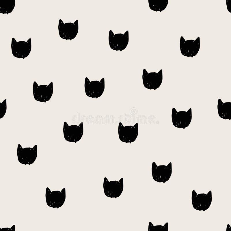 Modèle sans couture tiré par la main principal de chats illustration stock