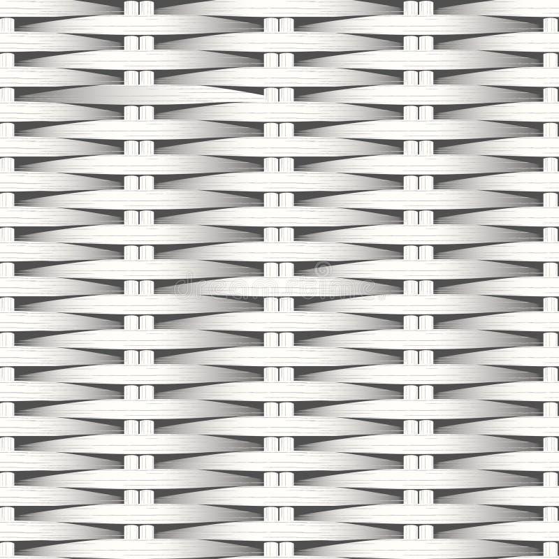 Modèle sans couture tissé plat de fibre blanche de canne illustration stock