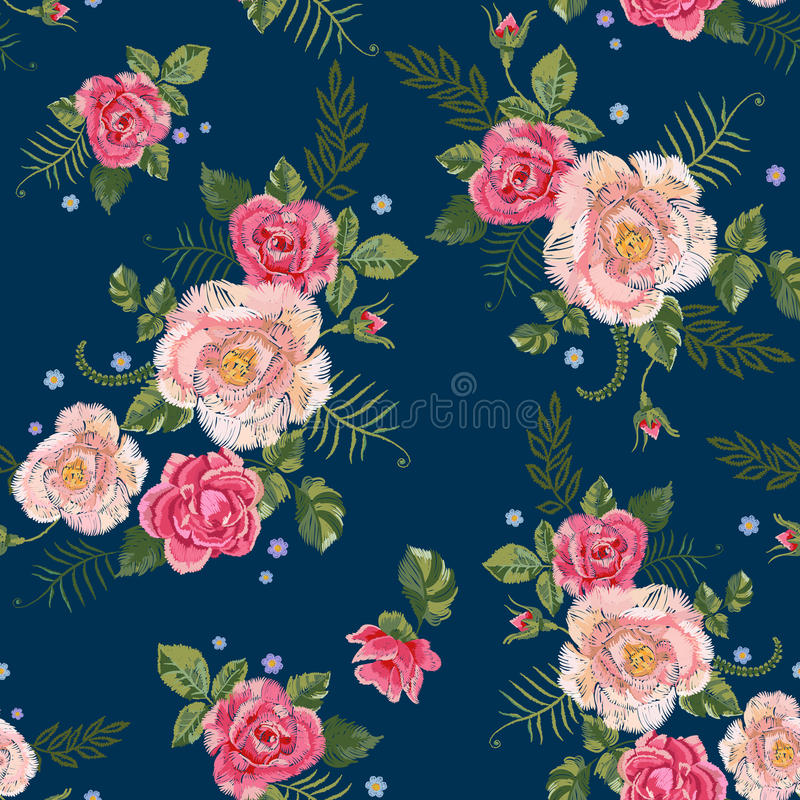 Modèle sans couture traditionnel de broderie avec les roses roses illustration de vecteur