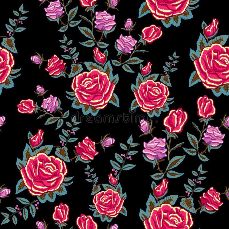 Modèle sans couture traditionnel de broderie avec les roses rouges illustration stock