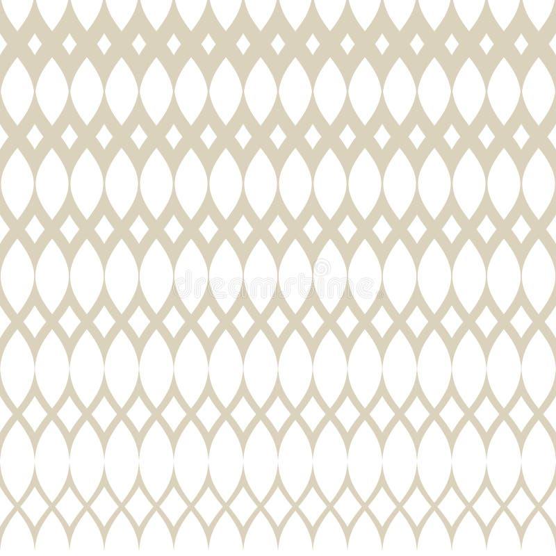 Modèle sans couture tramé de vecteur d'or avec la maille, grille, armure, tissu, trellis illustration de vecteur