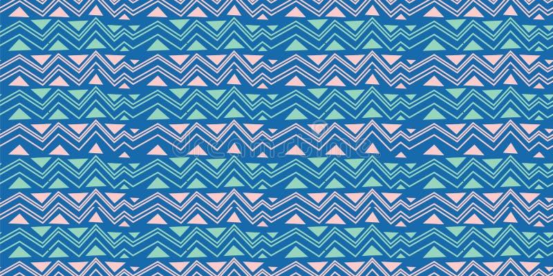 Modèle sans couture tribal de triangle de chevron Cru traditionnel décoratif d'impression africain Fond abstrait coloré Tiré par  illustration de vecteur