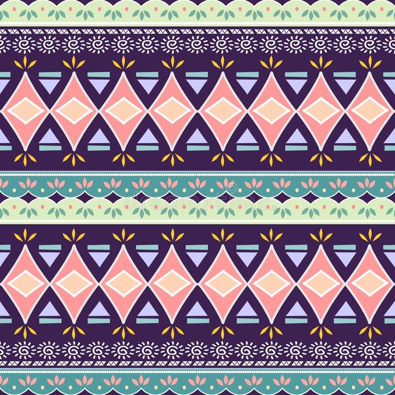 Modèle sans couture tribal de triangle de chevron Cru traditionnel décoratif d'impression africain Fond abstrait coloré Tiré par  illustration de vecteur
