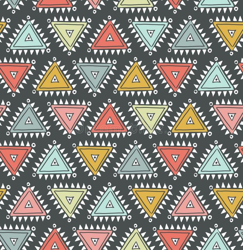 Modèle sans couture tribal de vecteur avec des triangles illustration stock