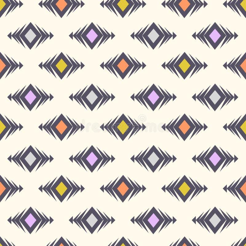Modèle sans couture tribal de vecteur Texture élégante de boho moderne Ornement ethnique géométrique avec des losanges illustration libre de droits