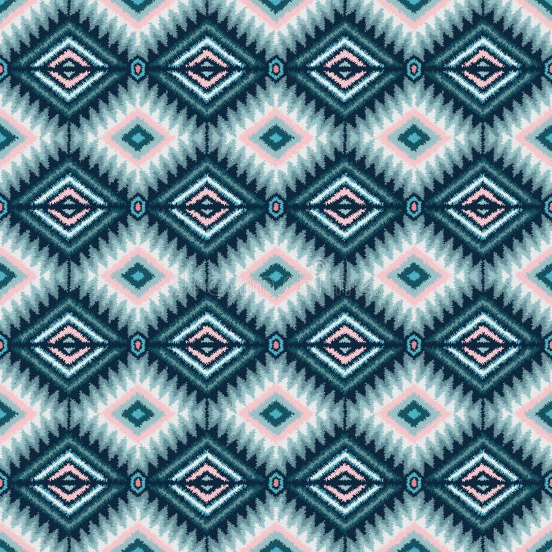 Modèle sans couture tribal ethnique dans le rose et le bleu illustration libre de droits