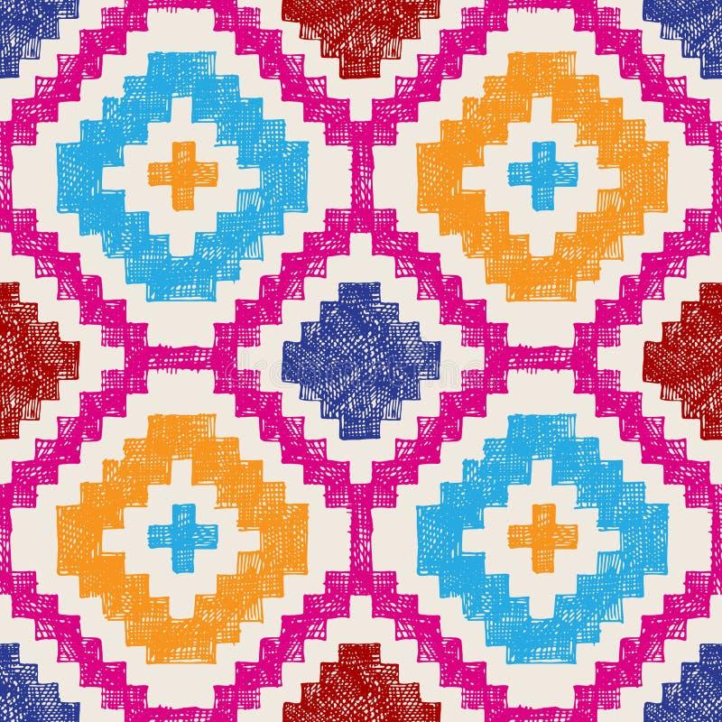 Modèle sans couture tribal tiré par la main illustration stock