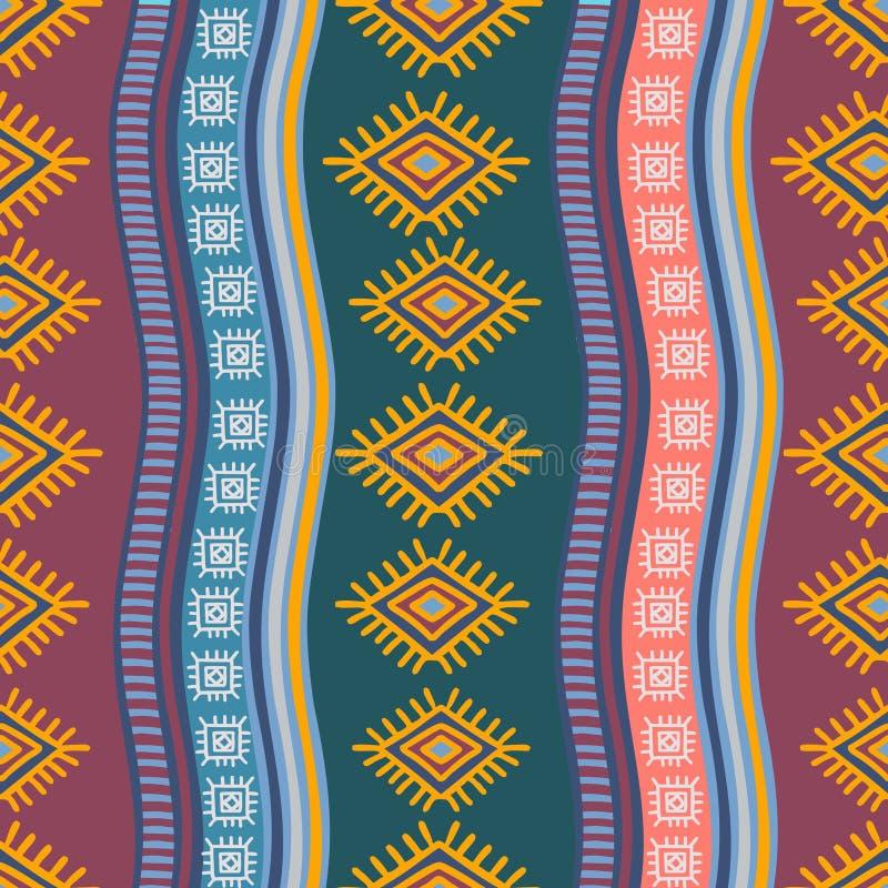 Modèle sans couture tribal tiré par la main avec le symbole abstrait de dessin ethnique d'ornement de fond africain géométrique a illustration de vecteur