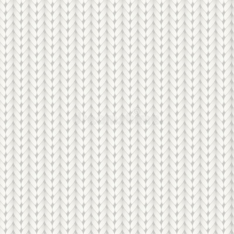 Modèle sans couture tricoté de vecteur La laine mérinos blanche tricotent la texture Fond de tricotage fait main confortable chau illustration libre de droits