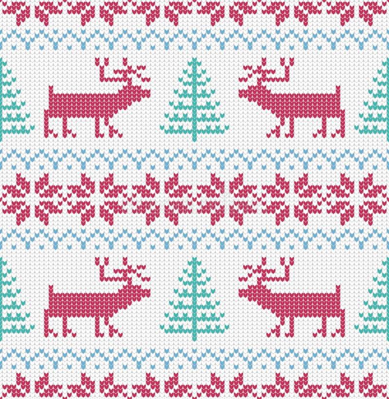 Modèle sans couture tricoté par nordic Fond de Noël de vecteur Coloré, décoration illustration stock