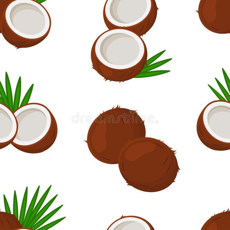 Modèle sans couture tropical avec les noix de coco et le palmier de feuilles d'isolement sur le fond blanc Vecteur illustration de vecteur