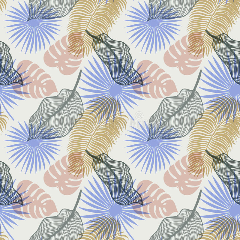 Modèle sans couture tropical avec les palmettes exotiques Monstera, paume, feuilles de banane Conception botanique de textile exo illustration libre de droits