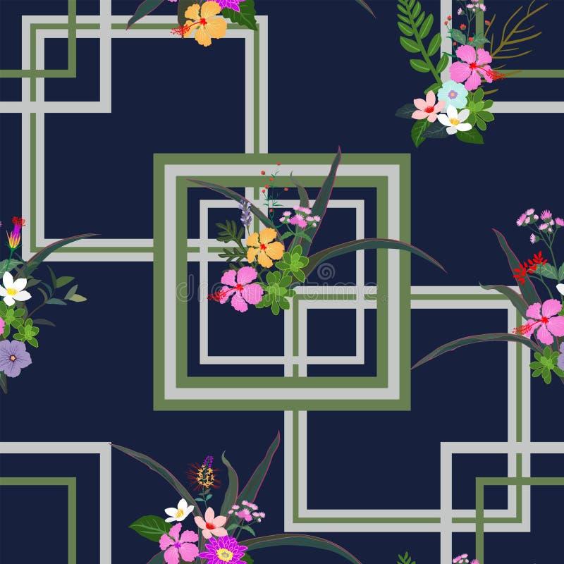 Modèle sans couture tropical coloré de fleurs et de feuilles sur le fond géométrique, pour décoratif, mode, tissu, textile, copie illustration libre de droits