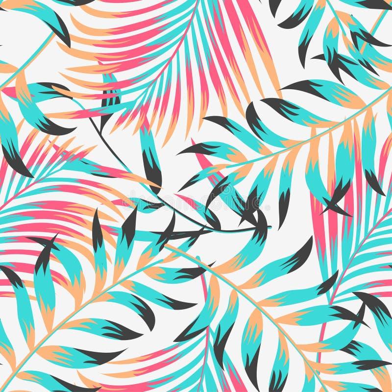 Modèle sans couture tropical d'été à la mode avec des feuilles et des usines sur le fond en pastel Conception de vecteur Copie de illustration libre de droits
