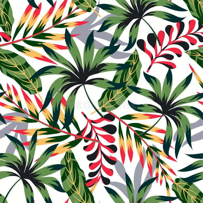 Modèle sans couture tropical d'abrégé sur tendance avec les feuilles et les usines lumineuses sur un fond clair Conception de vec illustration libre de droits